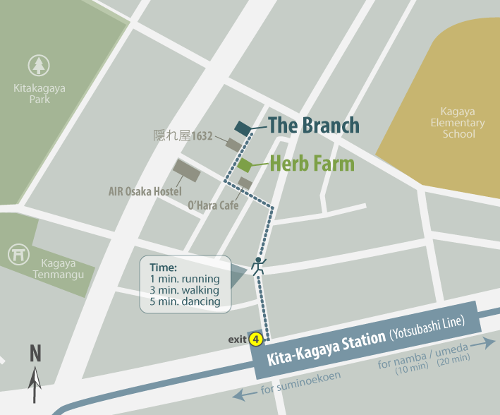 Map and directions to The Branch, Osaka, Japan