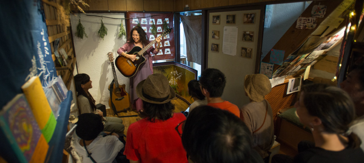 Alicia Bay Laurel performs an acoustic live concert at The Branch in Osaka, Japan
