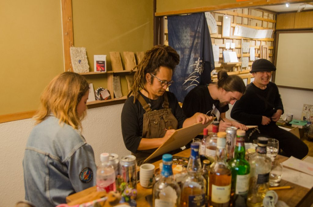 Drawing the taste of herbal tinctures at The Branch in Kitakagaya, Osaka, Japan